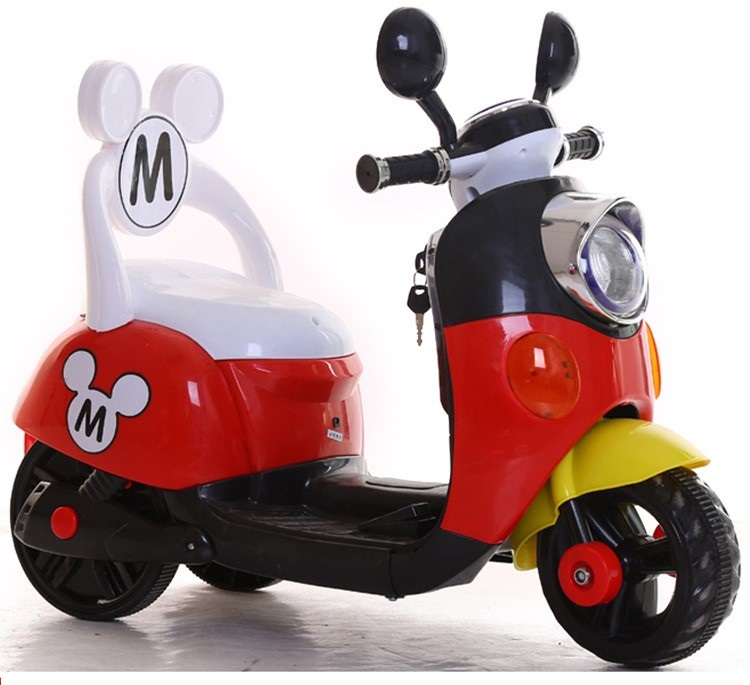 Free shipping 75DAYS Three colors Mickey Child ride on electric toy motorcycle bike For 1-5 years old age baby(China (Mainland))