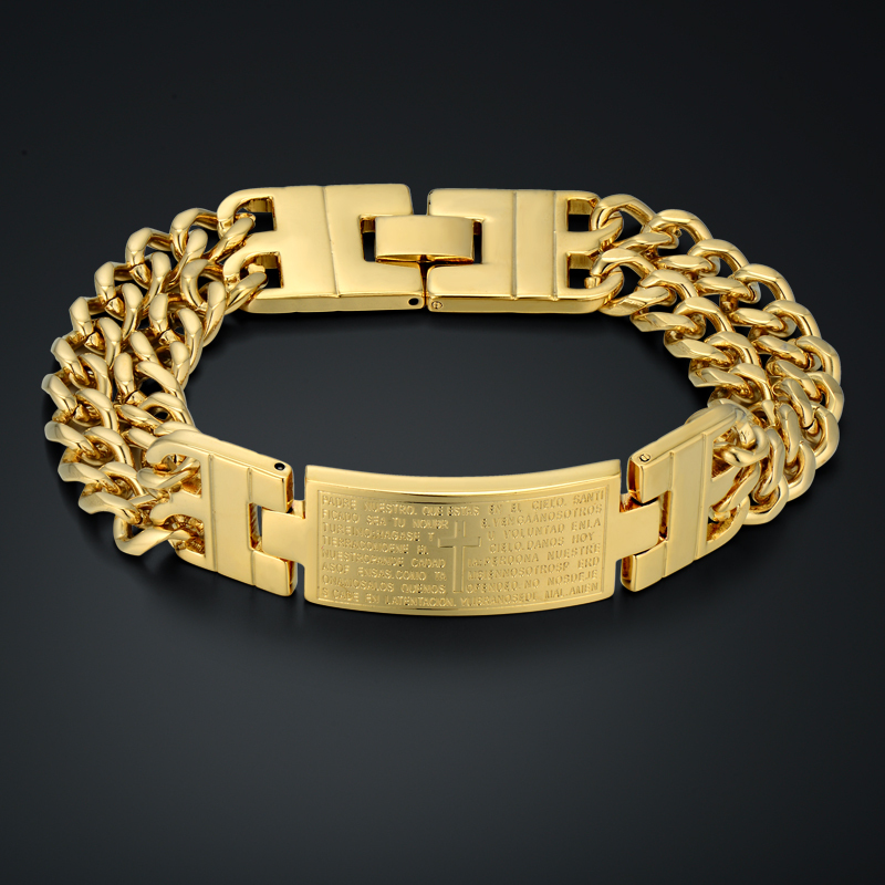 Jesus Christianity Bible Spanish Bracelet Unique Gold Cross Thick Chain & Link Bracelet 18k Real Gold Plated Men Jewelry(China (Mainland))