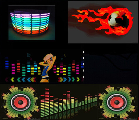 Sound Music ANew Product Ativated EL Car Sticker Equalizer Glow Flash Panel LED Multi Color Decorative Light Car Accessories(China (Mainland))