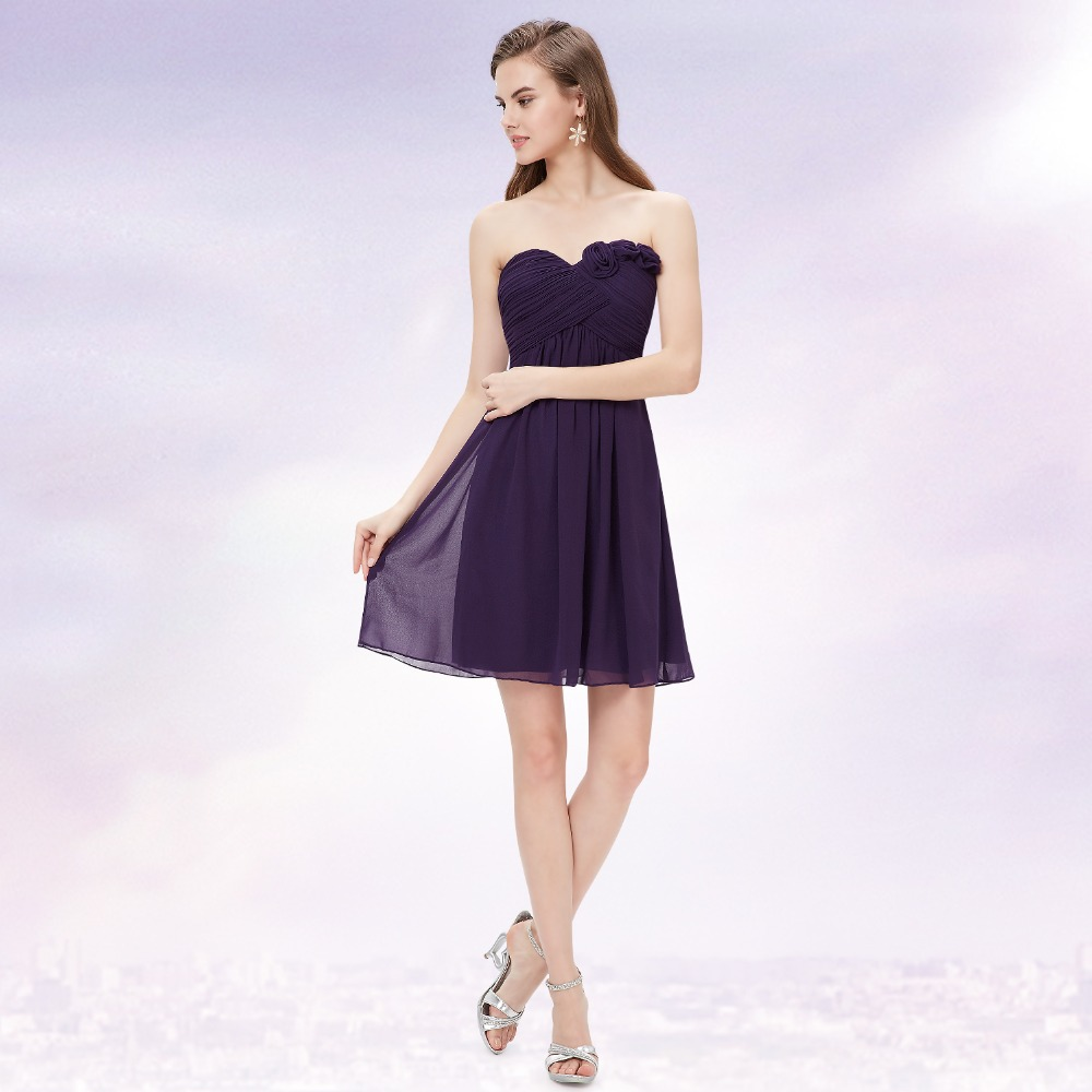 Strapless Flower Ruffles Wedding Chiffon Bridesmaid Dress Short 2016 New 3543 Royal Blue Purple