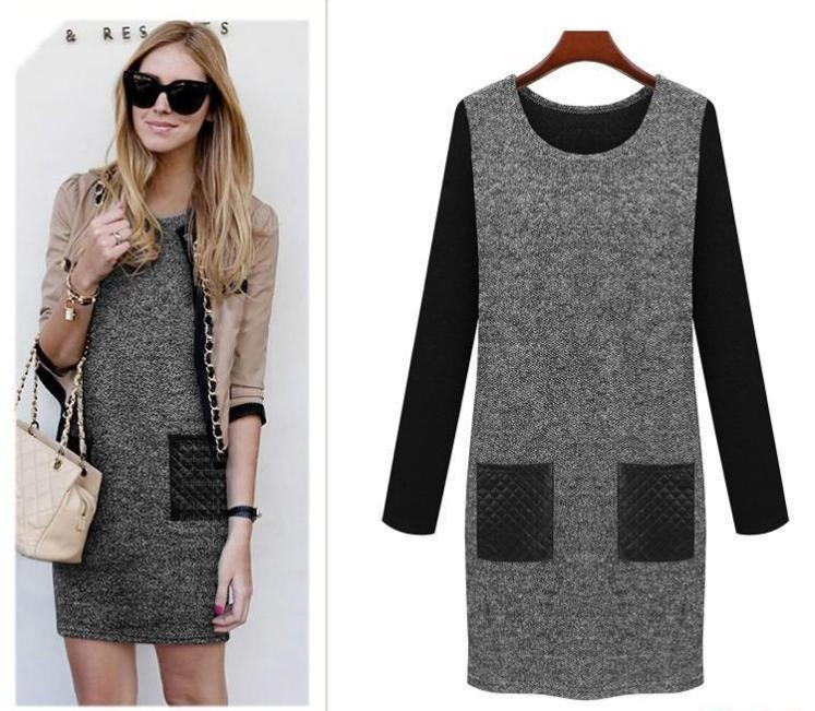 Free shipping new fashion women casual long sleeved dress for Women s haute couture clothing