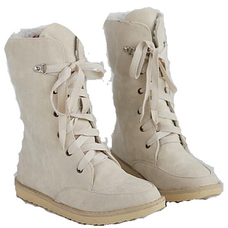2015 new sexy nubuck women black beige red blue shoes plush mid-calf snow boots ladies fashion flat shoe winter woman boot flats(China (Mainland))