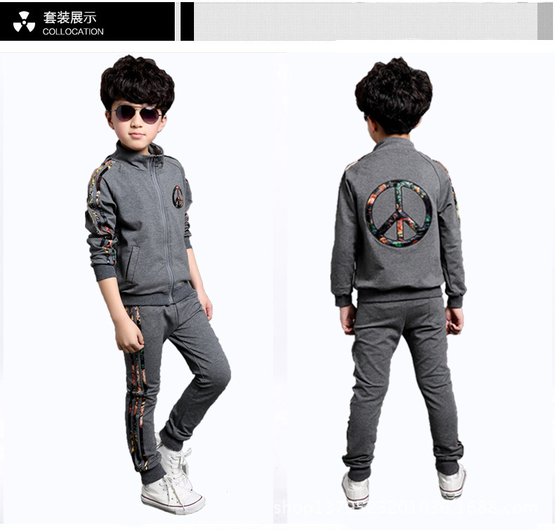 Boys Suits Spring and Autumn Children Sweater Sports Suit Grey Kids Clothing<br><br>Aliexpress