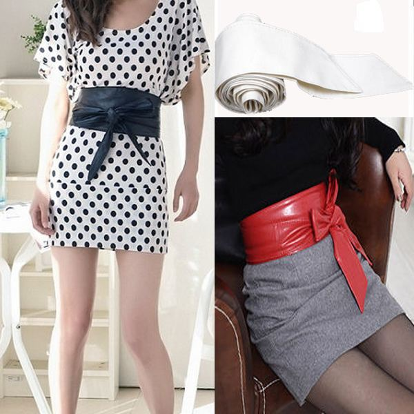 2014 New Fashion Lady Bowknot Bind Wide Belt Soft Leather Womens Waistband Waist Belt Long Circle