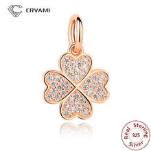 CRVAMI Charm, 925 Sterling Silver Symbol Of Lucky In Love, 14K Rose Gold Plated Clover Charms Pendants Fit Bracelets Necklaces(China (Mainland))