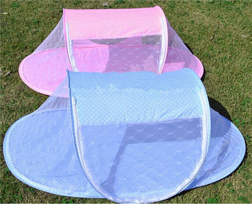 New Portable Foldable Blue Pink Dot Baby Mosquito Tent Travel Infant Bed Net Instant Crib Polyester Mesh Foldable Bed Net(China (Mainland))