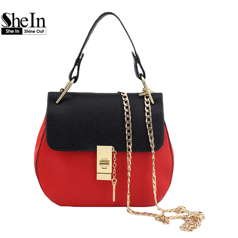 SheIn Fashion Bags For Women Casual Handbag Ladies Medium Contrast PU Faux Leather Handle Saddle Bag With Chain(China (Mainland))