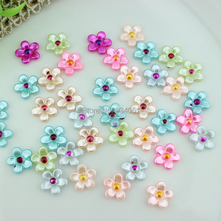 set of 500pcs Mini Pearlized Flower Pearl Pink,Green,Yellow,Purple,Gold Cabochon 11mm for Nail Art,Craft DIY Free Shipping(China (Mainland))