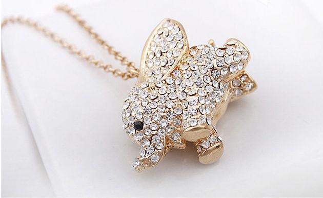 Fashion New Gold Chain Rhinestone Crystal Baby Flying Elephant Pendant Necklace(China (Mainland))