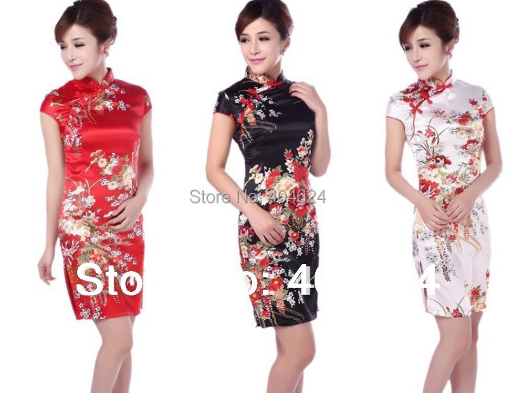 Wholesale Gorgeous New Silk Chinese Vintage Silm Women Cheongsams Delicate Handmade Qipao Unique Party Dresses Free Shipping!(China (Mainland))