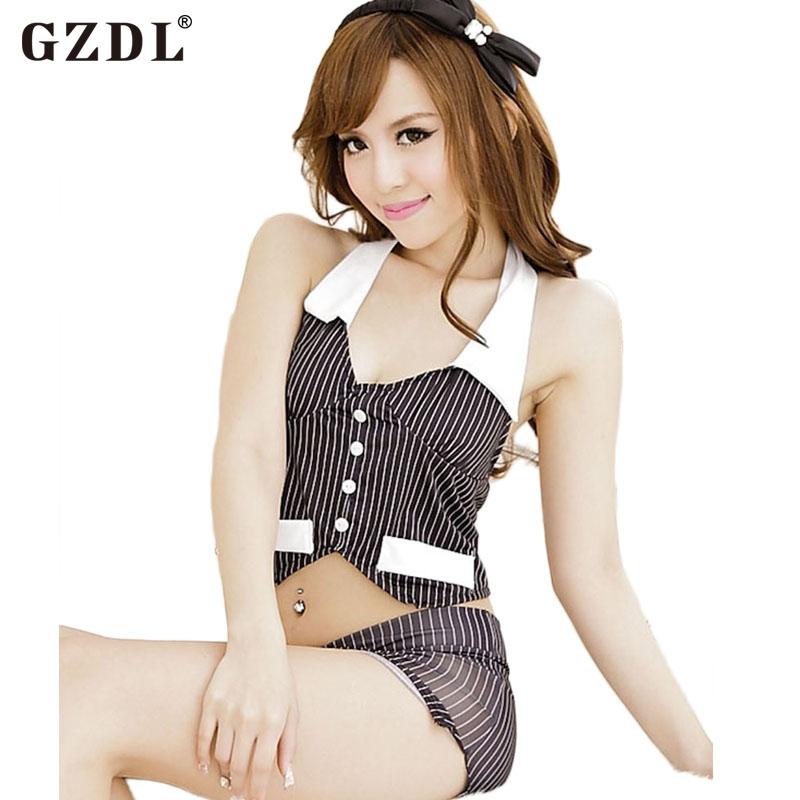 Sexy Women Halterneck Stripe OL Uniform Secretary Lingerie Set Babydoll Underwear Costume Sleepwear Black Hot Free Shipping 4049(China (Mainland))