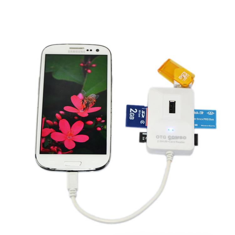 New Arrival OTG 2.0 HUB Smart Card Reader for Samsung Galaxy S3 S4 OTG Combo Micro USB Interface K-613(China (Mainland))