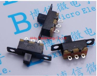 500Pcs/lot 3 Straight Pins 2 Positions Single Pole Double Throw SPDT Miniature Slide Toggle Switch(China (Mainland))