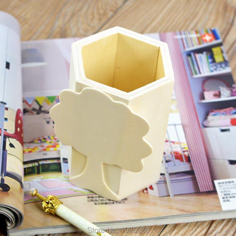 Brush Pot Big Tree Wooden Crafts Wood Pen Case Mud Base Art Decor Children Kid Baby DIY Toys Pencil Desktop Storage Box(China (Mainland))