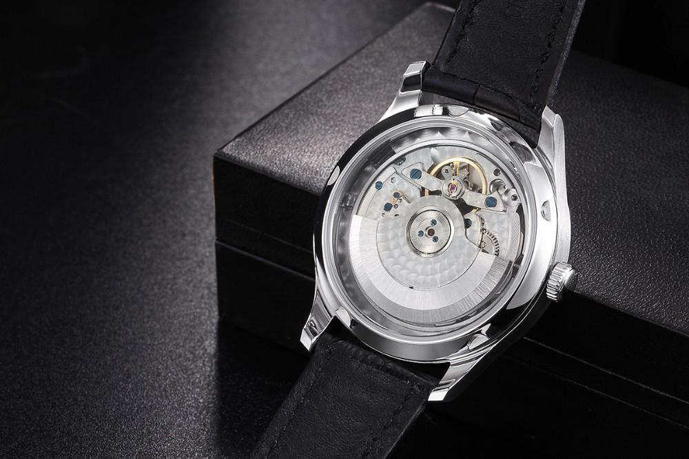 43mm Parnis Automatic Movement Power Reserve Black Dial Men's Watch