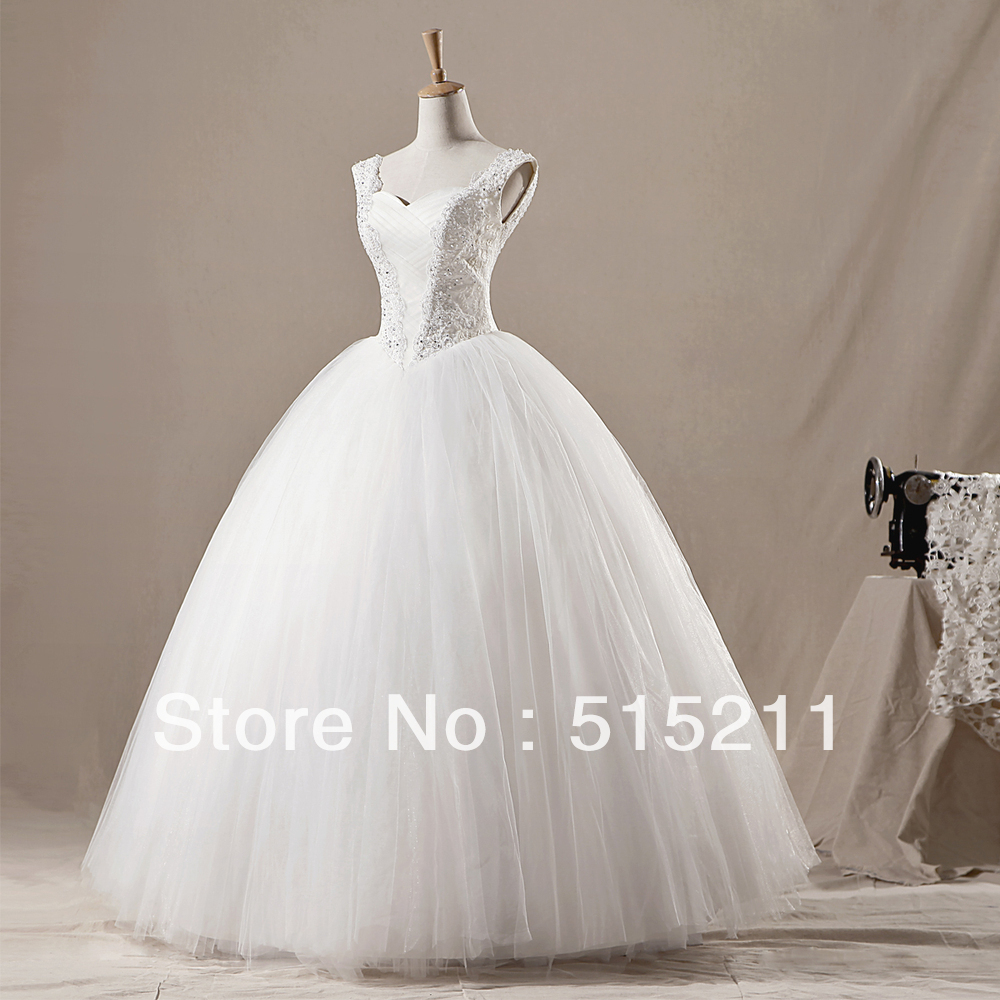 100% Real Sample Princess Tulle Ball Gown with Lace Cap Sleeves Corset Back Floor Length Bridal Gown 2014 wedding Dress(China (Mainland))