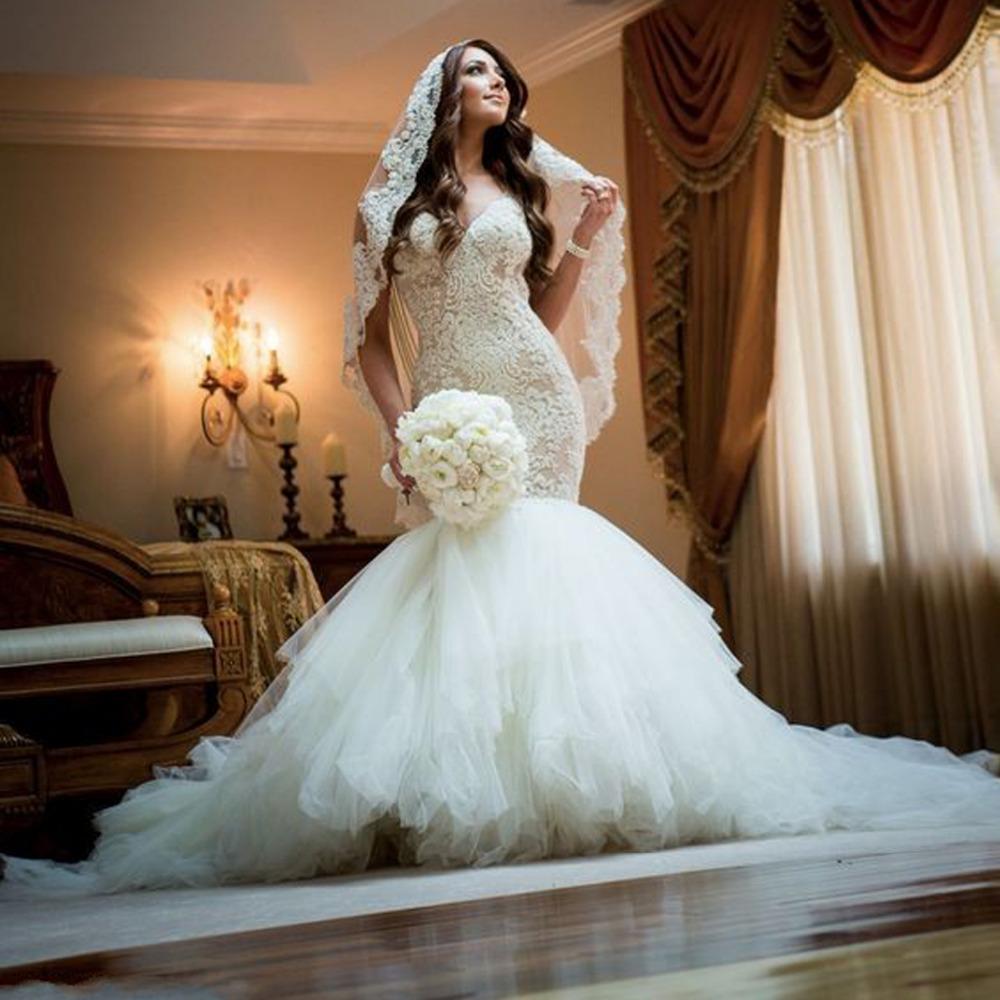Сексуальная открыть назад русалка свадебное платье Vestido Novia кружева милая свадебные платья 2016 одеяние де свадебная с жемчуг цепи