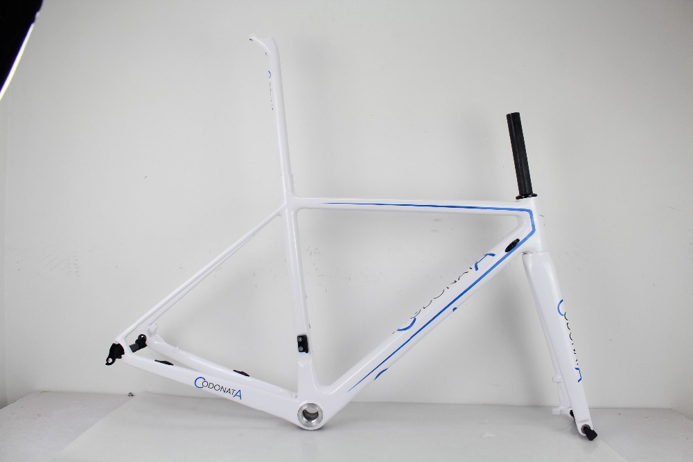 50CM full carbon Disc bicycle frame Cheap carbon road bike frame fork seatpost paint in white color with logo ONLY 50CM(China (Mainland))