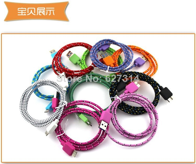 DHL free 52M 6ft Micro USB 3.0 Data Sync Charging Cable Samsung Galaxy Note 3 S5 i9600 N900 N9000 - Electronic shop store