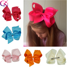 "Free Shipping 40 Pcs/lot 6"" Solid Hair Bow With Clip,Ribbon Hair Bow Hair Clip For Baby,Girls Boutique Hair Bow CNHB-1407147(China (Mainland))"