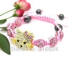 Fashion Girl's Jewelry Hello Kitty Shamballa Bracelet Wholesale 3pcs/lot(mix colors sale) Free Shipping!(China (Mainland))