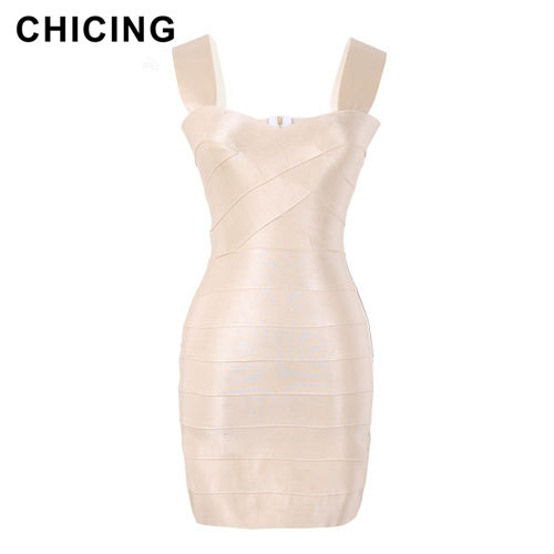 CHICING Sexy Bandage Dresses 2016 Fashion Sheath V-Neck High-elastic Ladies Dress Metal Lycra Top Quality Pencil Dress A1503019(China (Mainland))