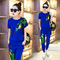 2016 summer women s casual suits female peacock trousers with sequins women s tracksuits Retro clothes