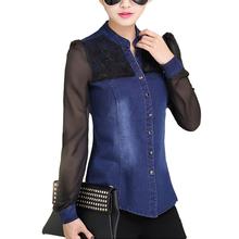 Womens Tops Fashion 2016 Korean Style Women Denim Shirt Top Body Jeans Shirts With Long Sleeves Camisa Jeans Feminina Blouse