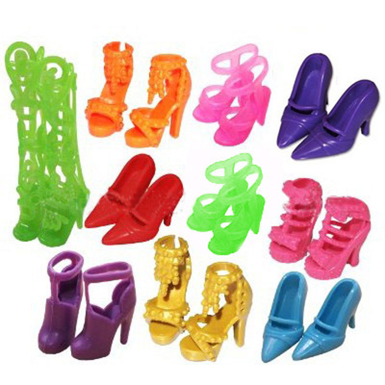 10 Pairs Colourful Assorted Trend Colourful Doll Footwear Heels Sandals For Barbie Dolls Equipment Outfit Gown