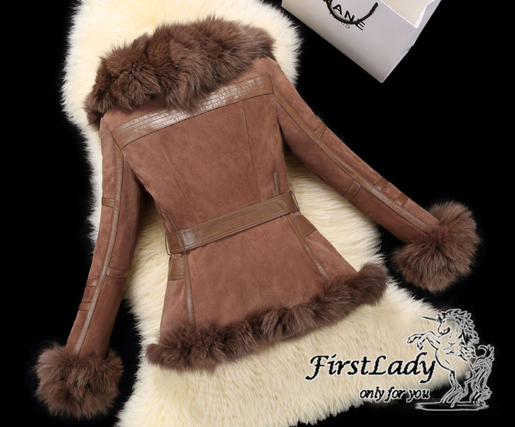 Real fox collars real leather jacket 27