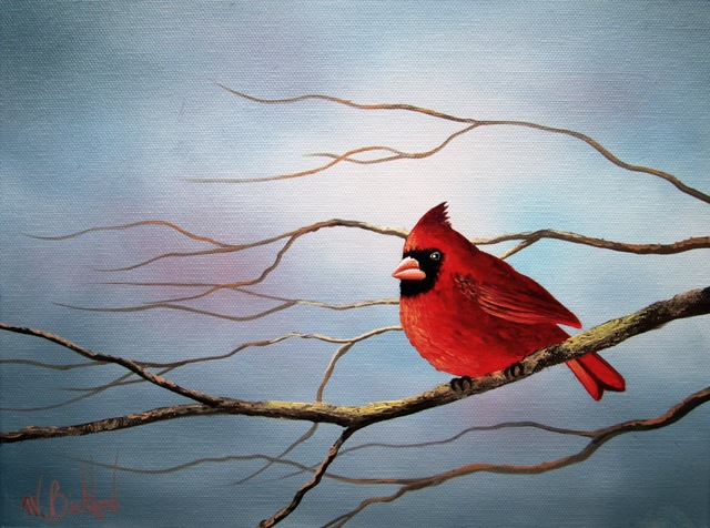 Hand Painted Red Cardinal Bird and Tree Oil Painting on Canvas Wall Decoration(China (Mainland))