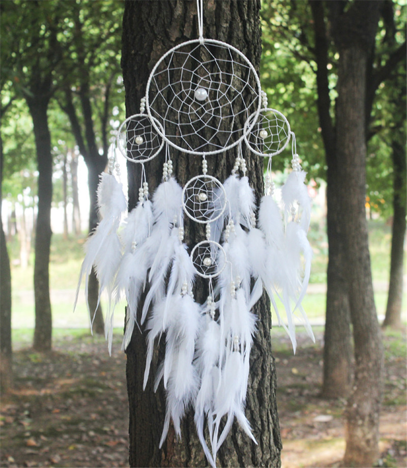 2015 New fashion originality big Hot white Dreamcatcher Wind Chimes Indian Style pearl Feather Pendant Dream Catcher Gift(China (Mainland))
