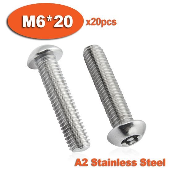 20pcs ISO7380 M6x20 A2 Stainless Steel Torx Button Head Tamper Proof Security Screw Screws