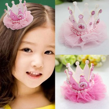 1pcs Sweet Baby Girls Crown Pearl Princess Hair Clip Pink Tiaras Barrette Headwear hair accessories for Party Holiday