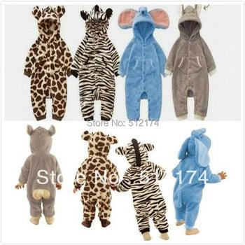 Baby Romper Lovely Animal Design 0-2Year Animal Style Baby Rompers Giraffe Zebra Elephant Rabbit Leopard Fleece Autumn Baby Suit