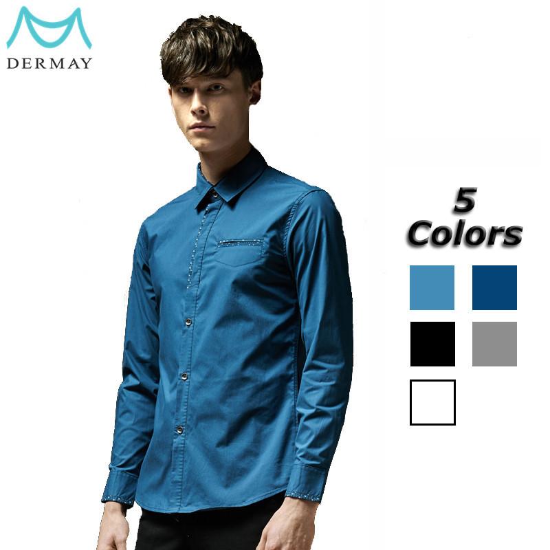 Мужская классическая рубашка Dermay Slim Fit , 5Colors Masculina 5XL DM04161725 мужская футболка dermay slim fit t v 6 homme m 3xl