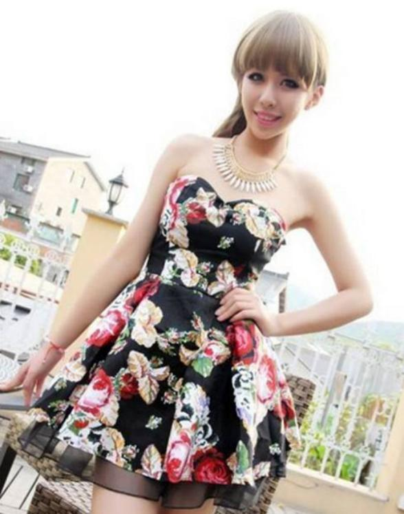 novel designs 2015 summer women sexy bustier tutu dres lady flower print slim artistic ball gown mini dress free shipping AA(China (Mainland))