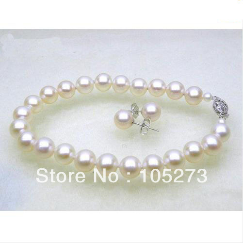 Charming Pearl Jewelry Set 7-8mm AA+ Round White Color Natural Pearl Bracelet Earrings Fashion Wedding Party Gift Style Hot Sale<br><br>Aliexpress