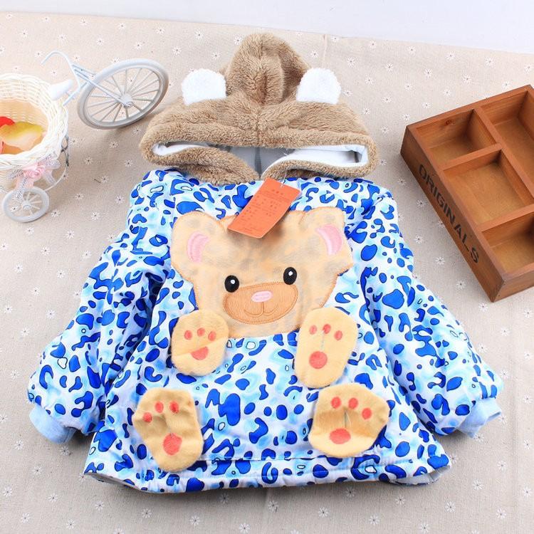 2016 Infant clothes toddler children autumn winter thick jacket baby boys girls hoodies & sweatshirts cartoon leopard kids coat(China (Mainland))