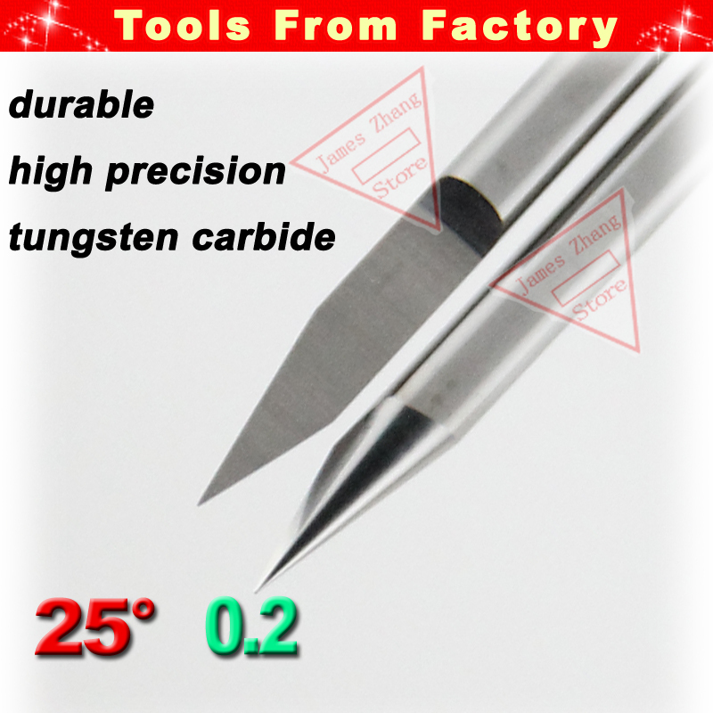 10pcs New Carbide PCB CNC Engraving Machine Router V Bits 25 Degree 0.2mm Free Shipping # J3.2502 - Tools From Factory(China (Mainland))