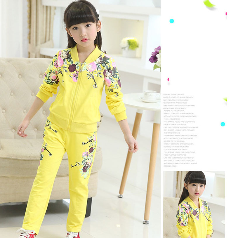 New 2016 Spring Teenage Girls Clothing Fashion Girls Tracksuits Casual Girl Clothing Set Kids Sports Suit For Girls(China (Mainland))