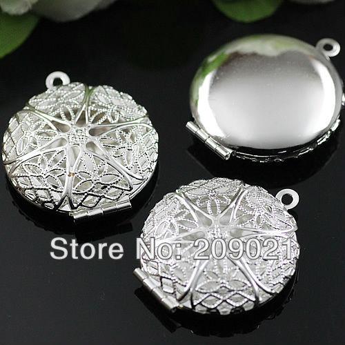 50pcs Necklace Pendants Silver Plated European Antique Style Round Prayer Box Photo Locket Studded Jewelry(China (Mainland))