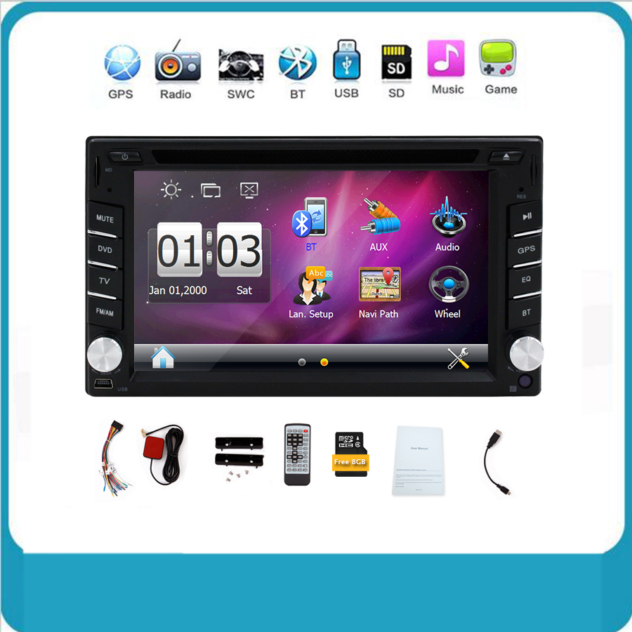 New universal Car Radio Double 2 Din Car DVD Player GPS Navigation In dash Car PC Stereo Head Unit video+Free GPS Map Bluetooth(China (Mainland))