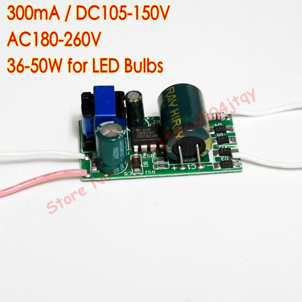300mA DC105V-150V 36-50W Led Driver 36W/38W/40W/42W/44W/45W/46W/48W/50W Power Supply AC180V~260V 220V for Ceiling lamp(China (Mainland))