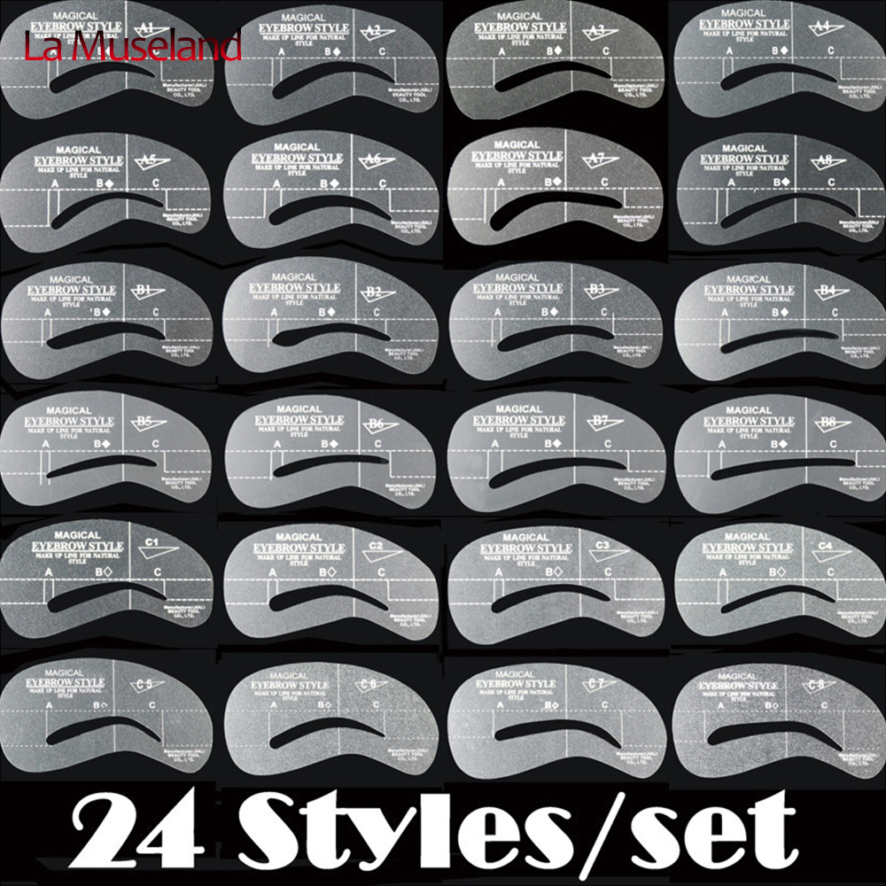 (24 styles/lot)Shaping Eyebrow stencils 24 styles reusable eyebrow drawing guide card brow template DIY makeup tools #2404x6(China (Mainland))