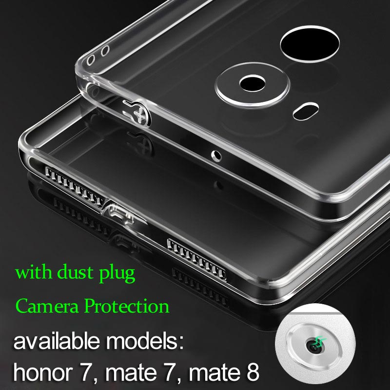 for Huawei Honor 7 case mate 8 Flexible soft TPU material with dust plug full camera protection free shipping(China (Mainland))
