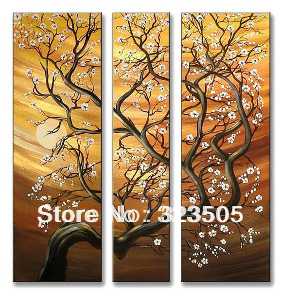 3 Piece Purple Cherry Blossom Muti Panel Abstract Modern: 3 Panel Canvas Wall Art Modern Abstract Cherry Blossom