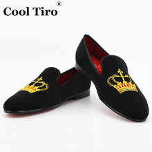 COOL TIRO New Black velvet Fashion Men Casual Golden Crown embroidery Red bottom shoes Men Handmade Loafers Wedding Flats shoes(China (Mainland))