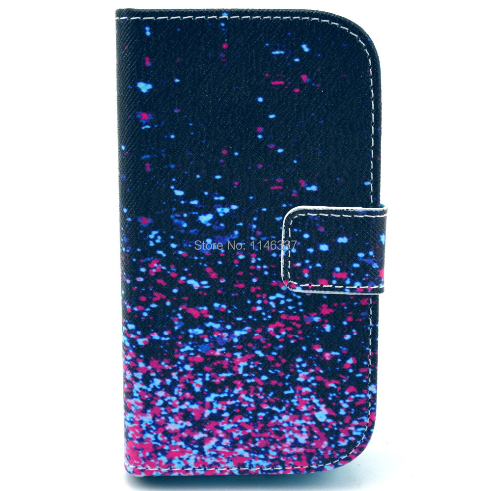 #789345 Dark Blue Stars PU Leather Flip Wallet Stand Card Holder Case Cover For Samsung Galaxy S DUOS S7562(China (Mainland))
