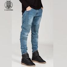 Mens Skinny jeans men 2016 Runway Distressed slim elastic jeans denim Biker jeans hiphop pants Washed black jeans for men blue(China (Mainland))